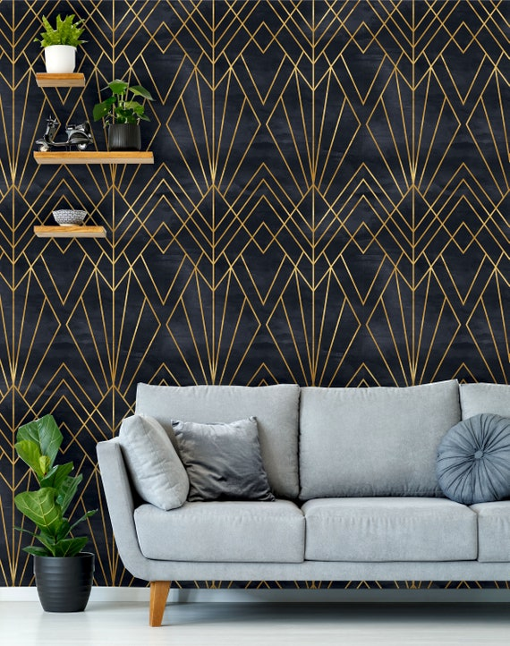 Removable Peel N Stick Wallpaper Self Adhesive Wall Mural Geometric Black Gold Pattern Watercolor Black Background Art Deco
