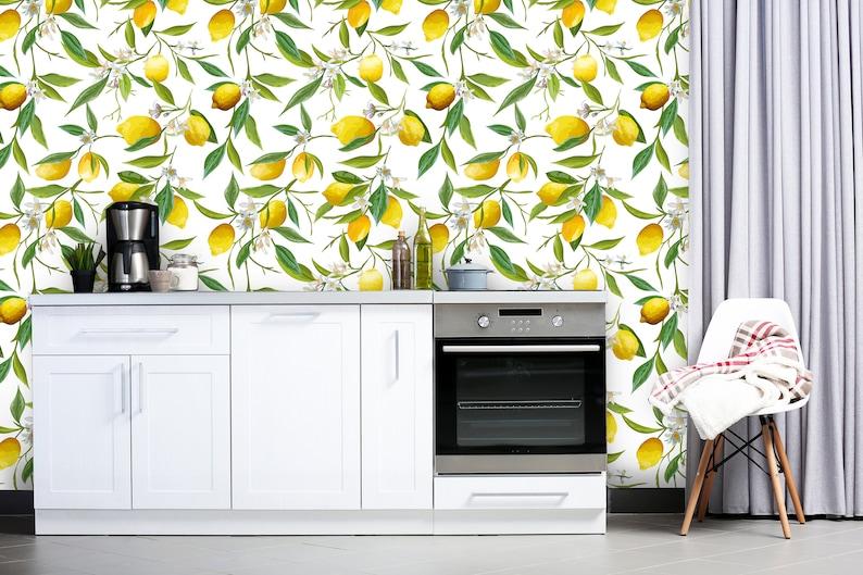 Lemon Wallpaper Removable Wallpaper Peel and Stick Floral Wallpaper Pattern Tropical Wallpaper