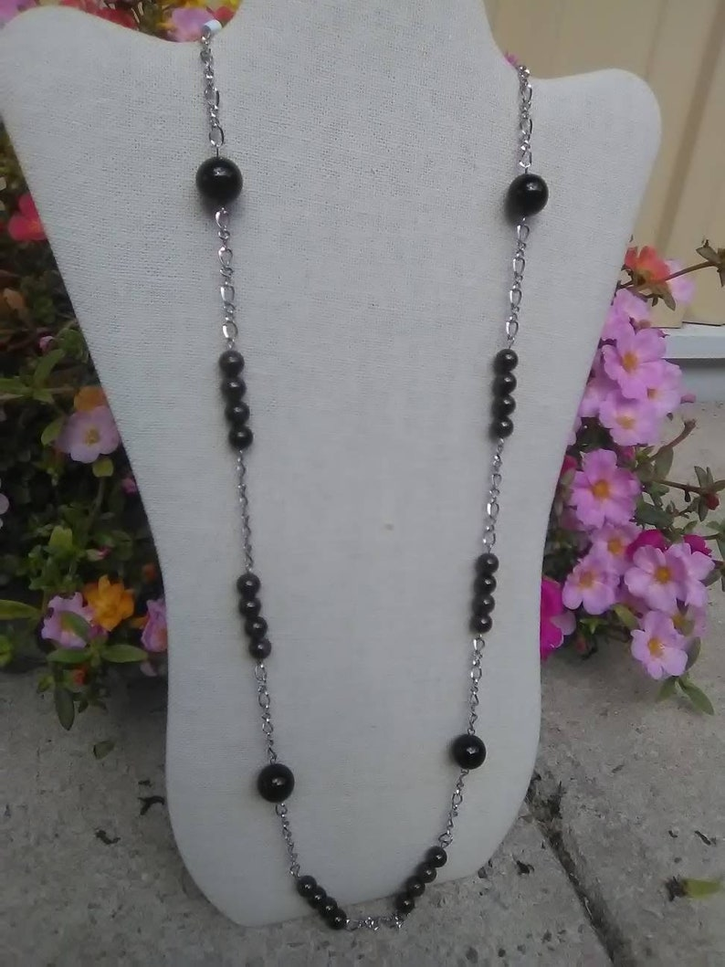 USC Gamecock Chain And Bead Necklace Garnet And Onyx