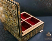 2 layers Jewelry Wooden Box Suqare Box, Syrian handmade, Christmas gift, Marquetry, Ornaments Storage Box with key padded in red Velvet