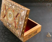 Vintage Jewelry Wooden Box Christmas gift, Handmade Mosaic Box - Marquetry, Ring box, wood Box, Accessories box padded with red Velvet