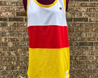 70s 80s Champion Tank Top Mesh Jersey Yellow Red White dd361d379
