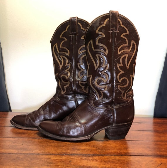 Justin Boots / Justin Western Style Cowboy Boots / Dark Brown Justin Boots