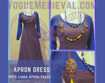Custom Norse Apron Dress (Smokkr/Hängerock) Viking Age Linen/Silk *MADE TO ORDER*