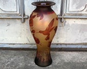 Vase with Humming-Bird and Flowers, antique home decor