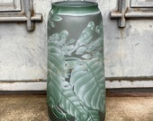 Vase with Birds among Monstera Leaves, antique home decor