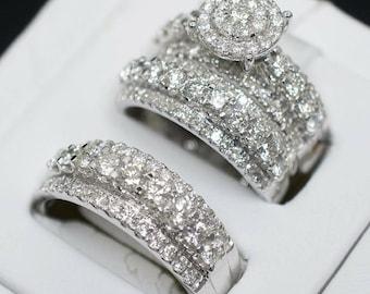 His /& Her Engagement Ring Wedding Band Trio Set Round Diamond 10K Yellow Gold Fn