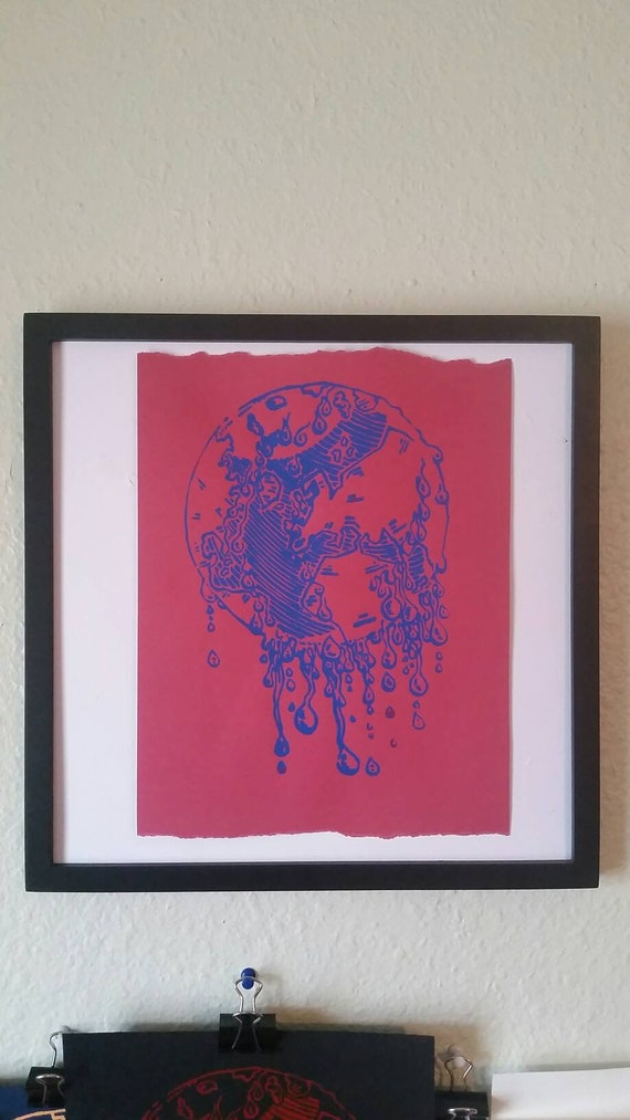 Drippy Earth Studio Proof Screen Print Red on Sage