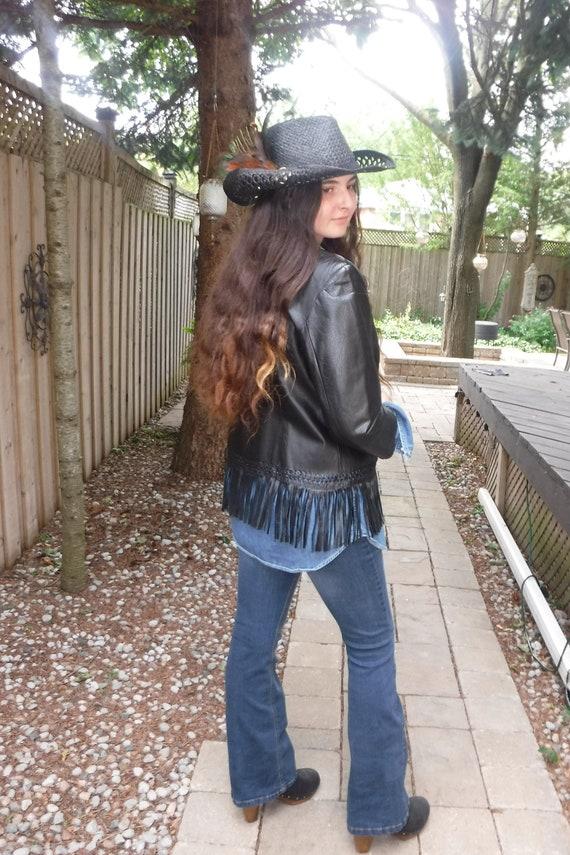 Leather fringe jacket