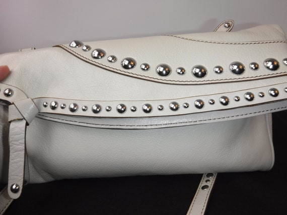 Edgy White Leather Studded Clutch