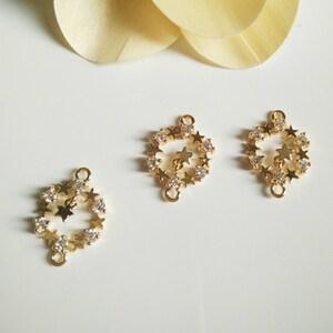 12x18mm 24k Gold Plated Brass Stars Zircon Charm Pendants Connectors,5pcs Stars Pendant for Jewelry Making FYD007