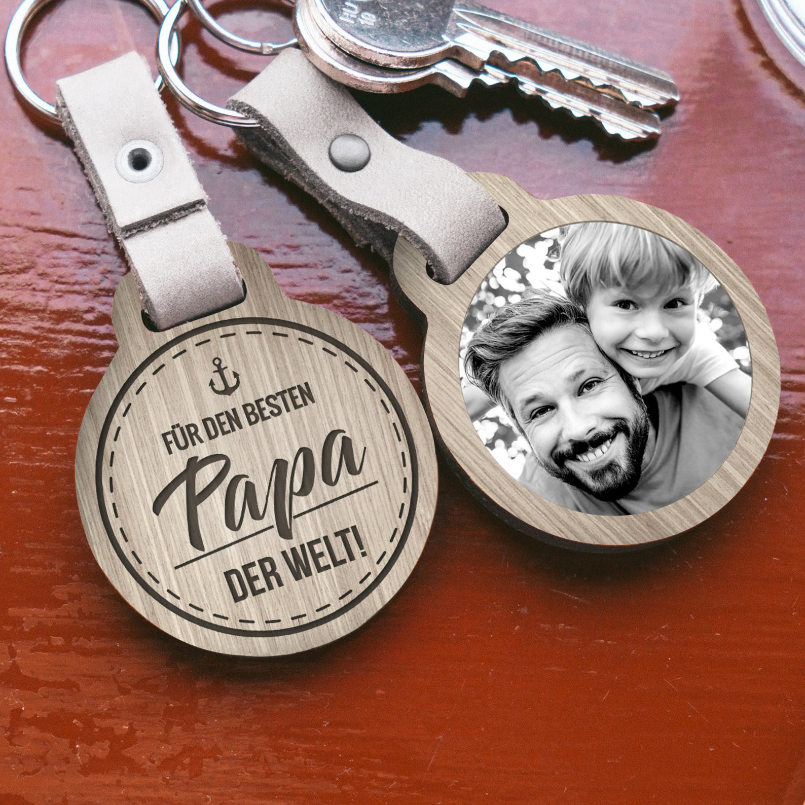 Photo Print Keyring/For the best daddy in the world