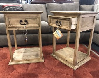 Two Solid Wood Rustic Nightstands  Pair