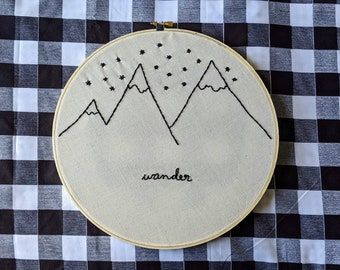 """Embroidered Hoop Art - """"Wander"""" Minimalist Mountain Scene Scandinavian Lord of the Rings Tolkein-inspired Wall Hanging Decor Embroidery"""