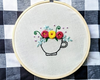 Embroidered Hoop Art - Blooming Teacup with 3 Pink Yellow Flowers Floral Roses Embroidery Plant Art Tea-Lovers Gift Cottage Core Home Decor