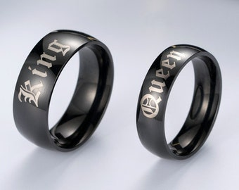 72388e1099 Matching Couple Promise Rings, King and Queen Ring Set, Black King and Queen  Rings Set, Unique Design, King Queen Couples Rings.