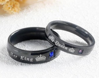 55ebf0bffc Matching Couple Promise Ring, King and Queen Ring Set, Black Crown King and Queen  Ring Set, Unique Design, King Queen Couples Rings.