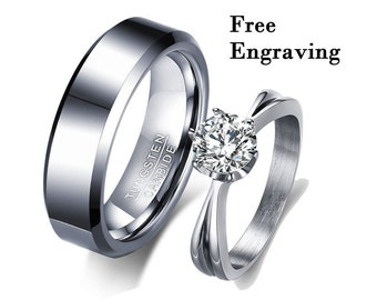 bride bridegroom couple Bow Ring Valentine/'s Day gift, Personalized customized ring 925 standard silver ring  lettering wedding ring