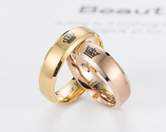 dabcf61740 Matching Couple Promise Rings, King and Queen Ring Set, Gold and Rose Gold Ring  Set, Unique Crown Couple Rings, King Queen Couples Rings