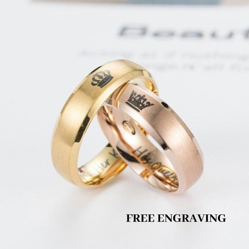 a4a212c5f0cfc Couples Ring Promise Ring Set His and Her Ring King and Queen Ring  Anniversary Ring Matching Couple Ring Couple Gift Set Promise Rings