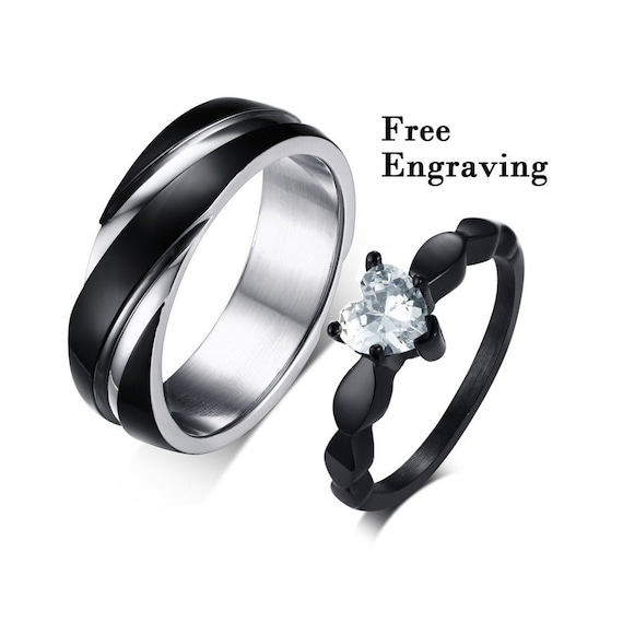Promise Rings For Couples Couples Ring Set Couple Rings Etsy