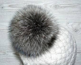 770fee834ed Fur pom pom Raccoon fur pompom Natural color fur silver raccoon Real fur  Pompom hat Large pompoms Detachable pompom Fluffy pom pom
