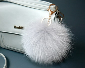 884cf659ade3 Fur pom pom keychain Light gray furry key chain bag charm Fluffy key fob for  car Real fox fur pompom Fur ball key ring Her gift