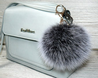 1658948cb90e Real fur pompom keychain Furry key chain bag charm Fluffy key fob for car  Silver color fur pompom Fur ball key ring Her gift