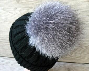 03d30934c6f Fur pom pom for hat Real silver fox fur pompom Large fluffy ball pom  Detachable pompom