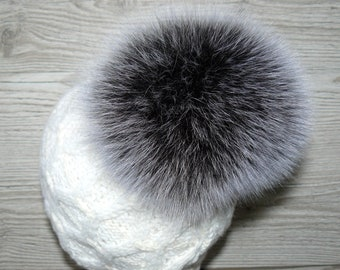 c9416000497 Fur pom pom for hat Silver color fur pom pom Real fox fur pompom Large  plush furry ball Detachable pompom