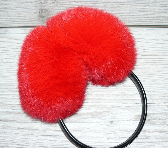 Real fur earmuffs for women and girls  Rabbit fur ear muffs  Red warm earmuffs   Gift for her  Birthday gift