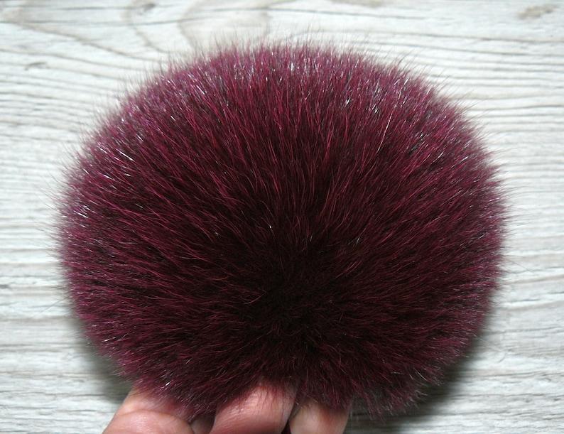 a572a7e620d Fur pom pom Burgundy fur pom pom for hat Real plush fox fur