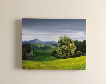 Landscape field oil painting on canvas