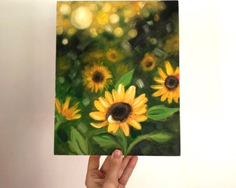 Chasing light, sunflower oil painting on wood canvas