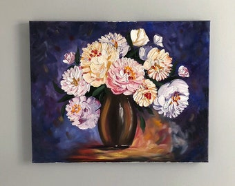 Abstract peonies, fien art oil painting on canvas