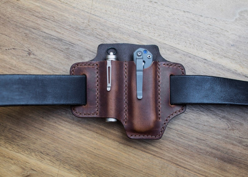 Classic Mini Edc Belt Pouch For Flashlight And Knife Etsy