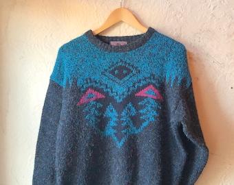 843f939b7487f Concrete Mix Fuzzy Southwestern 80s 90s Sweater (Men s Small)