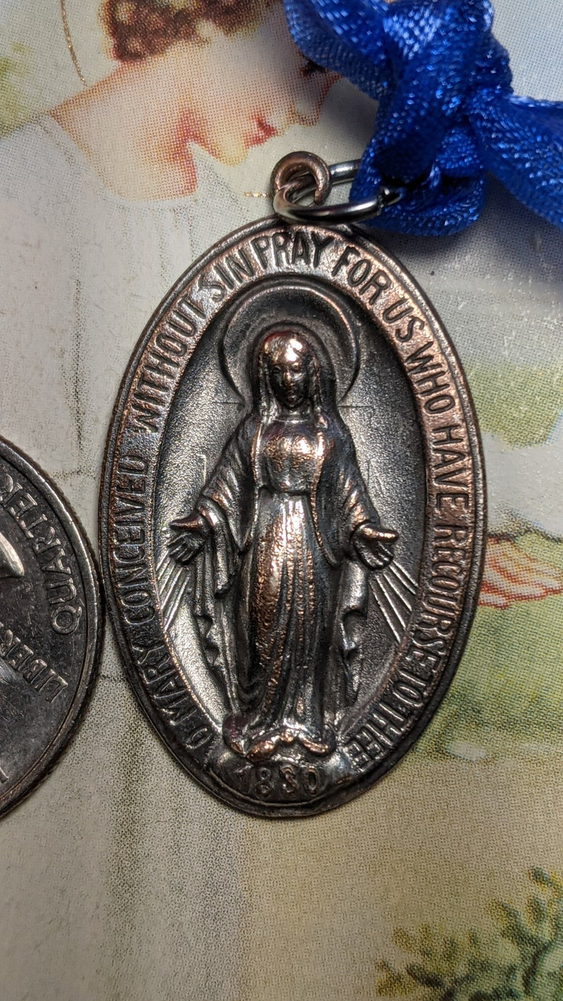 Vintage Rustic Old Virgin Mary Religious Miraculous Medal Pendant Heavier Weight