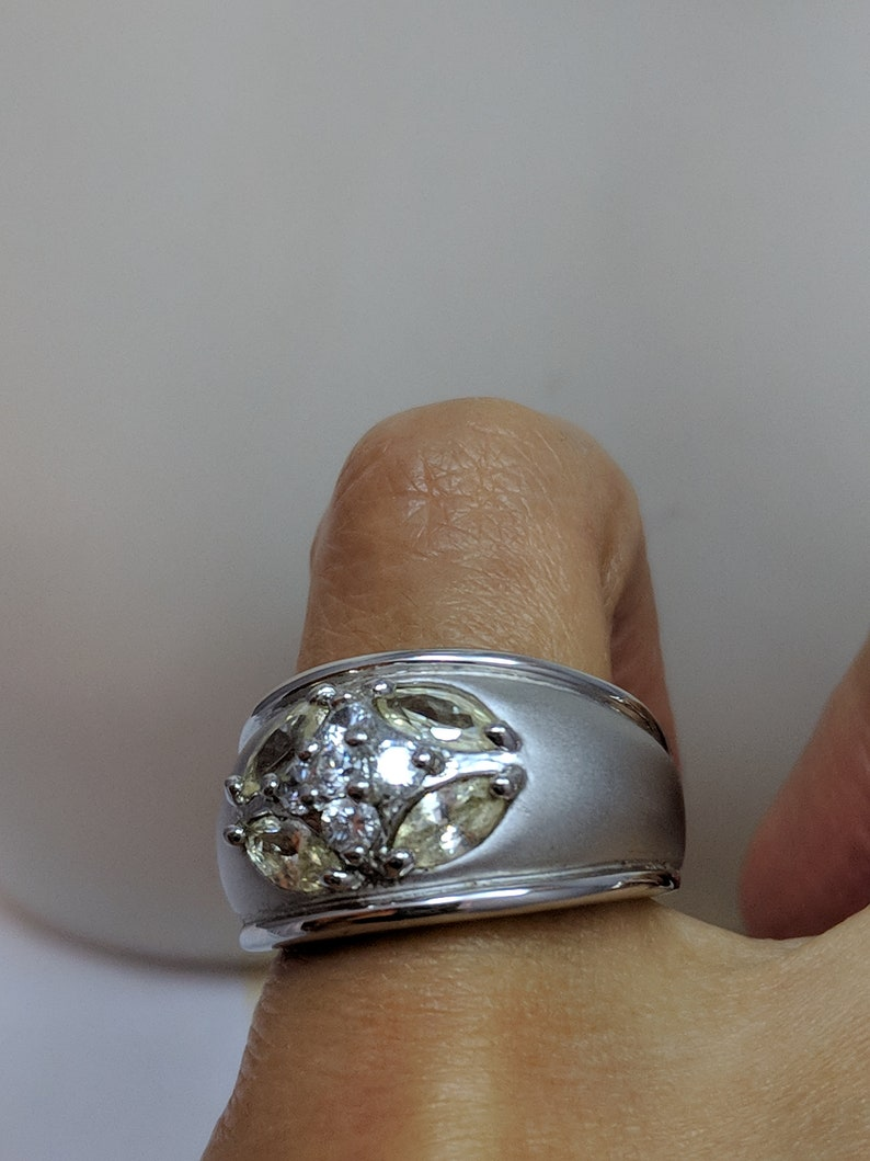 Vintage Canary Light Yellow Clear CZ Faux Diamond Wide Cigar Band Satin Finish Cocktail Dinner Ring Size 6