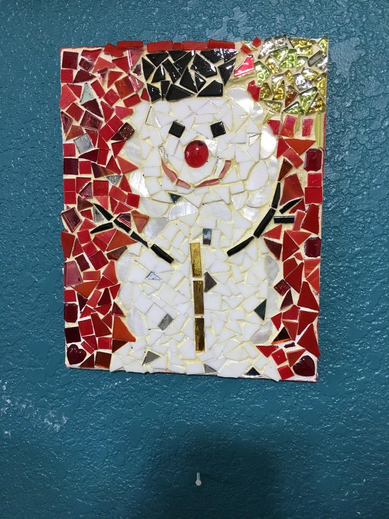 mosaics Christmas Christmas decor wall hanging glass art display Christmas mosaic snowman home decor Christmas gift