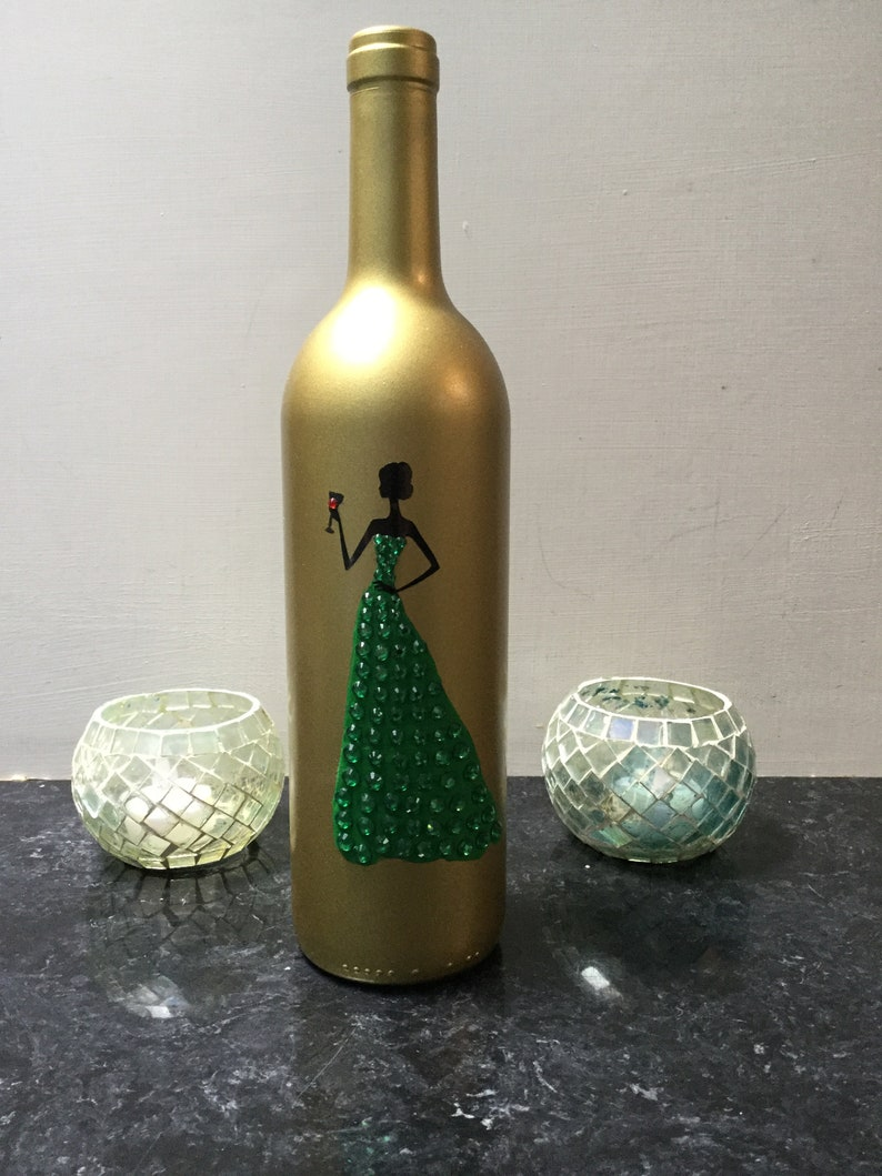 684adacfd68a Painted wine bottle with woman in green dress | Etsy