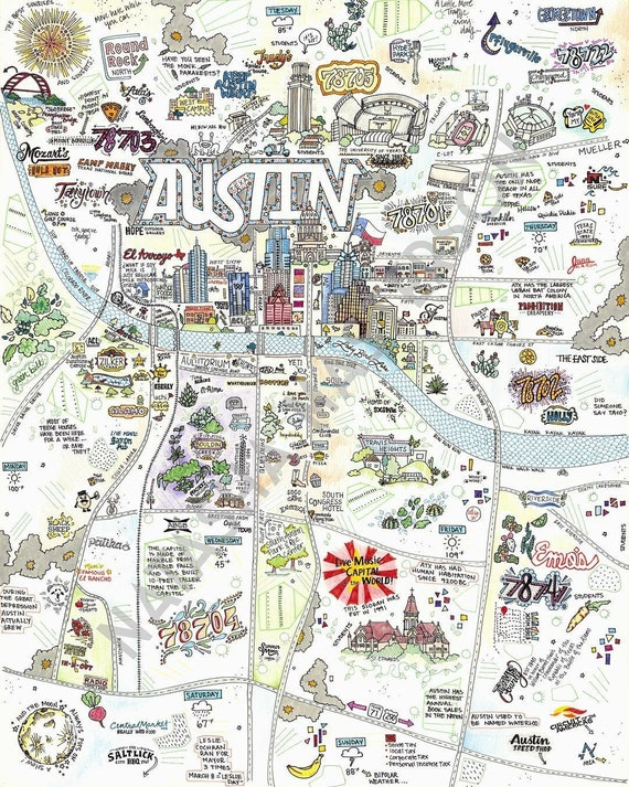 Austin Map Hand Drawn Map Map Print Austin Texas Map Etsy