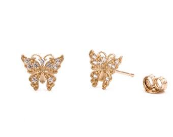 0.75Ct Brilliant Butterfly Huggie Hoop Earrings 14K Yellow Gold Pear Cut