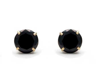 0250cfa3a 14k Yellow Gold 1.00 ct.T.W. Black Round-cut Created Diamond Solitaire  Earrings, Push-back