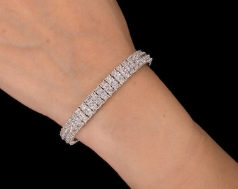 Delicated 3Ct Round Cut D//VVS1 Diamond Tennis Bracelet 14K White Gold Finish