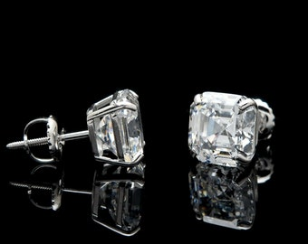 e3bfd6106 14k Gold 1.42 -6.00 ct. T.W. Asscher Created Diamond Solitaire Earrings,  Screw-back
