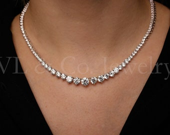 Created Diamond Graduated Tennis Necklace 40.00tcw 925 Solid Sterling Silver e705b3f682
