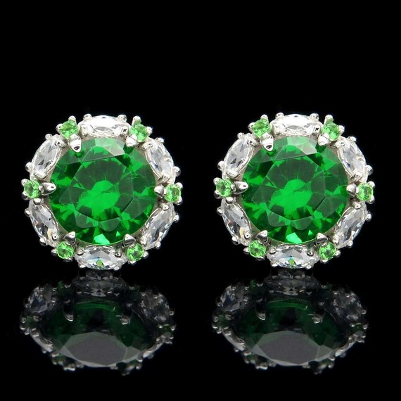 Round Created Diamond Push Back Stud Earrings 14K White Gold 2.00Ct