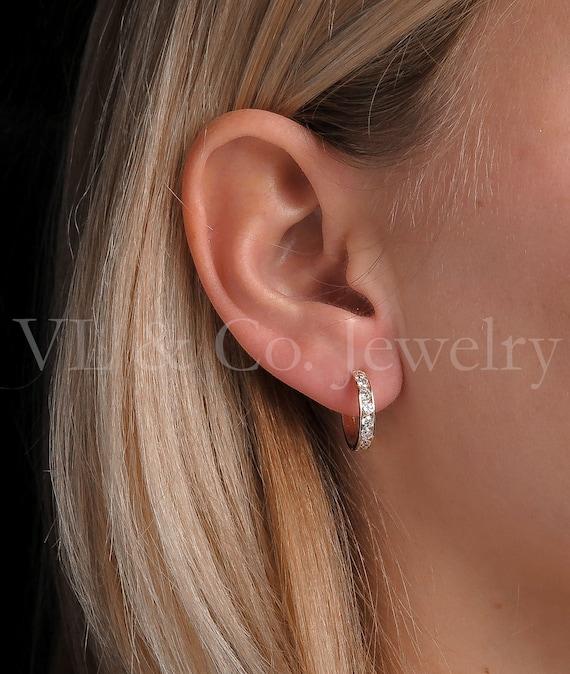 1.50Ct Round Cut VVS1//D Diamond Huggie Hoop Earrings Solid 14K White Gold