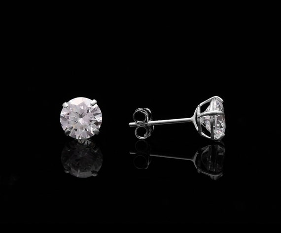 Round-Cut Created Diamond Solitaire Earrings 14k Yellow Gold 4.00 ct T.W